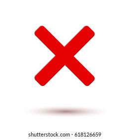 Cross red icon isolated on white background. Symbol No or X button for correct, vote, check, not approved, error, wrong and failed decision. Vector stop sign or mark graphic element for web design.