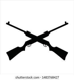 Cross and Rifle. Vector Icon and Logo.