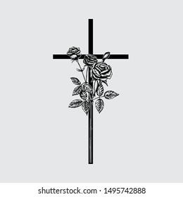 Cross with rose, funeral design element. Vector illustration, EPS 10