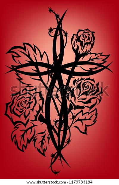 ab2d37e261c03 Cross Roses Tribal Tattoo Barbed Wire Stock Vector (Royalty Free ...