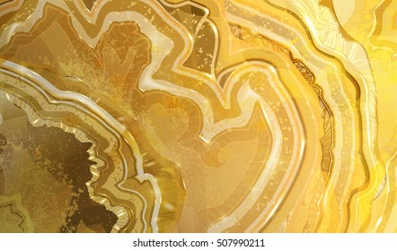 Cross section of agate crystal, abstract texture, light agate structure, marble background. Hand drawn vector illustration, watercolor design.