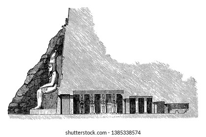 Cross Section of the Great Temple at Abu Simbel, archaeological site, cross section, Egyptian architecture, entrance hall, ipsamboul, Nubian monument, rock temple, unesco world heritage site,  vintage