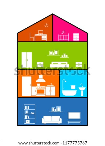 Cross Section House Clipart Image Isolated Stock Vector Royalty