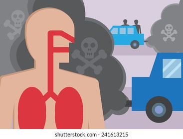 A cross section of a persons lungs breathing in traffic fumes. An illustration to highlight  the effect of toxic air pollution.