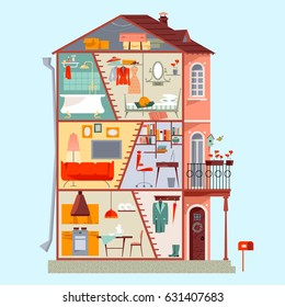 Cross section of a three-story house. Detailed interior design of rooms. Vector illustration