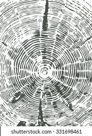 Cross section of tree stump gray vector