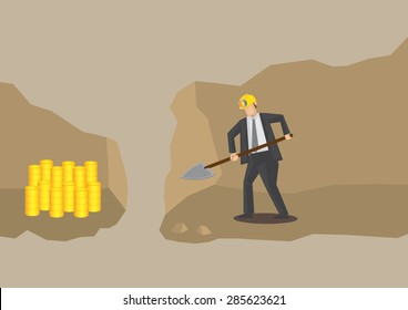 Cross section view of underground mine where cartoon businessman dig with shovel and very near to success with gold mine in adjacent tunnel. Conceptual vector illustration for gold digger metaphor.
