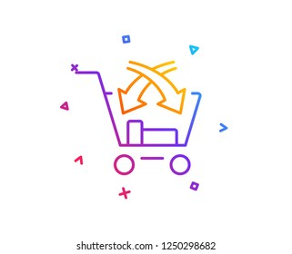 Cross sell line icon. Market retail sign. Gradient line button. Cross sell icon design. Colorful geometric shapes. Vector