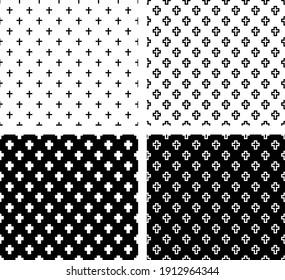 Cross Set Pattern, graveyard, cemetery monochrome black pattern. Great for mobile app, web design, banner, game etc.