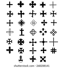 Cross set, symbol of cross, design elements