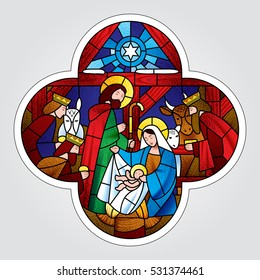 Cross shape with the Christmas and Adoration of the Magi scene in stained glass style. Vector illustration