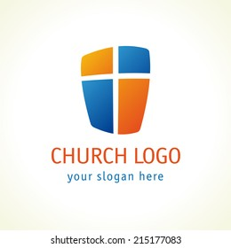 Cross and shield of faith christian church vector logo. Missionary icon. Religious symbol. Protection, safety, security sign. Windows or doors. Weapon conservative idea.
