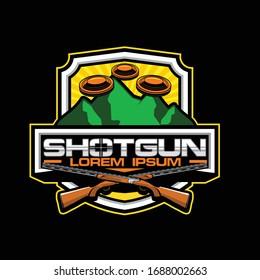 Cross shotgun with clay pigeon vector sport badge logo template