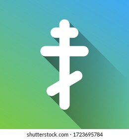 Cross sign. White Icon with gray dropped limitless shadow on green to blue background. Illustration.