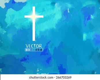 Cross in the sky. Vector