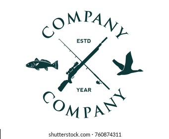 Cross Sniper Rifles and Fishing Rod with Flying Duck and Fish Circle Hunting Company Logo