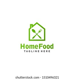 Cross spoon and fork Home food logo design concept