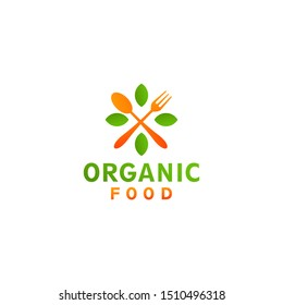 Cross spoon and fork organic leaf food logo design concept