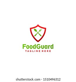 Cross Spoon and fork shield food logo design concept