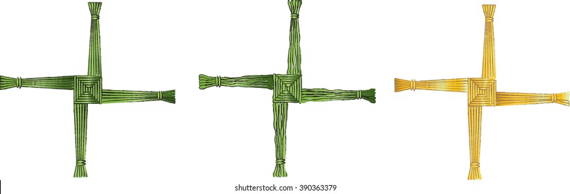 The cross of St Brigid, believed to protect against evil and fire. Color vector illustration.