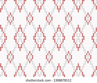 Cross stitch allover argyle ornamental motif. Seamless vector pattern for fabric, apparel textile, interior design, linen napkin, kitchen tablecloth. Retro Scottish folk ornament in red, grey, white