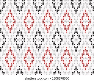 Cross stitch allover argyle ornamental motif. Seamless vector pattern for fabric, apparel textile, interior design, linen napkin, kitchen tablecloth. Retro Scottish folk ornament in black, red, grey