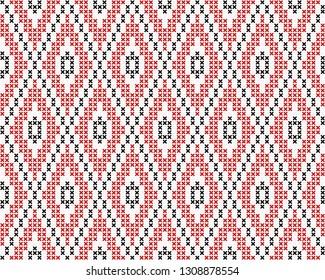 Cross stitch allover argyle ornamental motif. Seamless vector pattern for fabric, apparel textile, interior design, linen napkin, kitchen tablecloth. Retro Scottish folk ornament in black, red, white