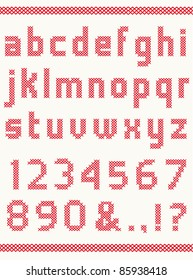 Cross stitch alphabet with numbers