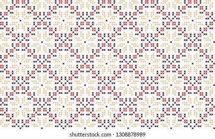 Cross stitch flower ornament in red, yellow, black colours. Allover vector pattern for fabric, apparel textile, interior design, linen napkin, kitchen tablecloth. Retro Italian floral folk motif