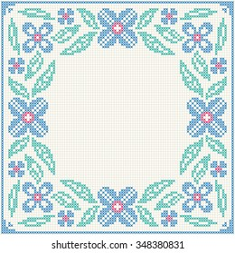Cross stitch flower pattern. Floral frame for cross-stitch embroidery in Ukrainian traditional ethnic style. Blue and green, vector illustration.