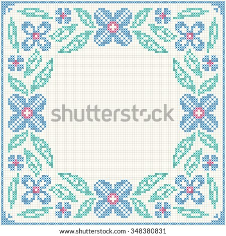 Cross Stitch Flower Pattern Floral Frame Stock Vector (Royalty Free ...