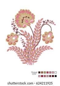 Cross Stitch Flowers. Ready-made template for cross stitching. Catalog of used thread colors. Vector
