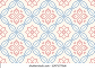 Cross stitch jacquard ornamental flower motif in blue, red colours. Allover vector pattern for interior textile design, linen napkin, kitchen tablecloth, paper towel. Retro British folk floral pattern