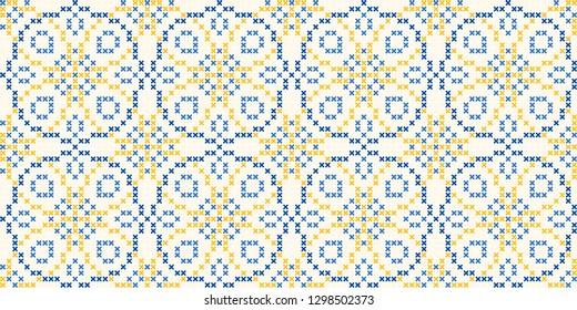 Cross stitch ornamental geometric motif in beige, blue, yellow colours. Allover vector design for interior, apparel textile, fabric, linen napkin, kitchen tablecloth. Retro British folk flower pattern
