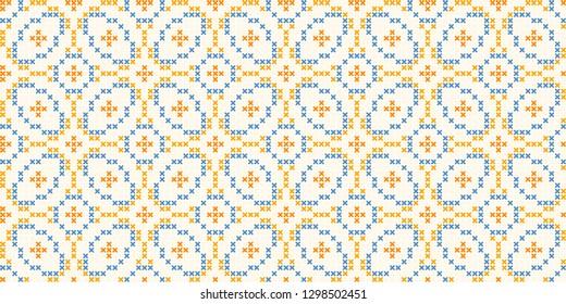Cross stitch ornamental geometric motif in blue, orange colours. Allover vector design for interior, apparel textile, fabric, linen napkin, kitchen tablecloth. Vintage British folk flower pattern