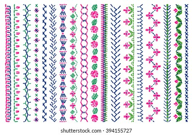 Cross stitch pattern for clothing, elements of folk embroidery,  vector ornament.