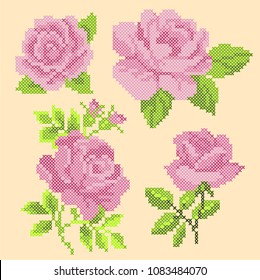 cross stitch pink roses