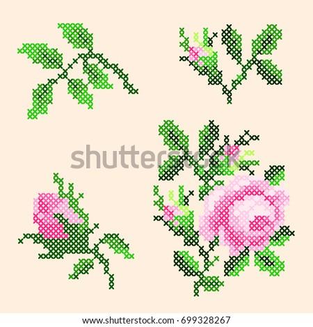 Cross Stitch Roses Elements Stock-Vektorgrafik (Lizenzfrei ...