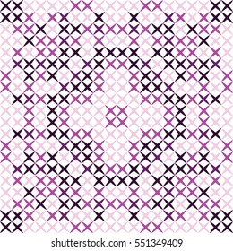 Cross stitch snowflake pattern black, pink, purple design your room