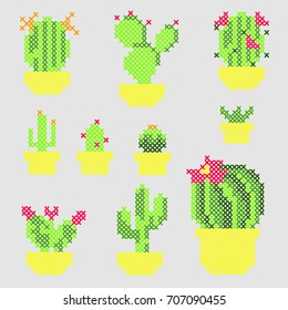 Cross Stitch vector cactus