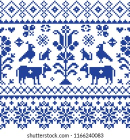 Cross stitch vector seamless folk art pattern - repetitive background inspired Swiss old style retro embroidery with flowers and animals. Navy blue symmetric floral decoration with birds, cows and cat