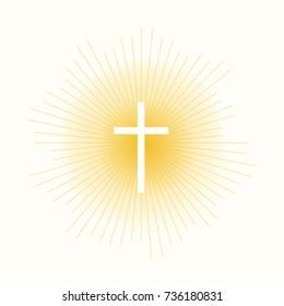 Cross in sun lights concept. Stock vector illustration of religion symbol.