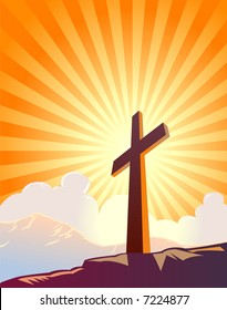 Cross and sunburst with mountains and clouds ? VECTOR