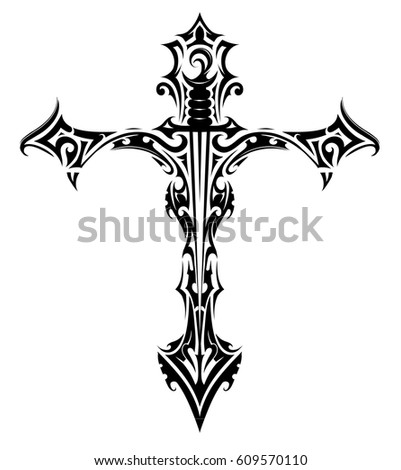 Cross With Sword Gothic Style Tattoo