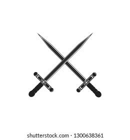 Cross swords icon flat