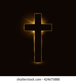 Cross, symbol of the Christian faith on a black glowing background. Vector illustration, eps 10.