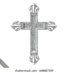 Cross symbol hand drawing vintage style.Engraving drawing of cross