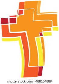 A cross - symbol of the Holy Spirit - Fire warm colors of Pentecost or sacrament of Confirmation.  Orange, yellow and red tones.