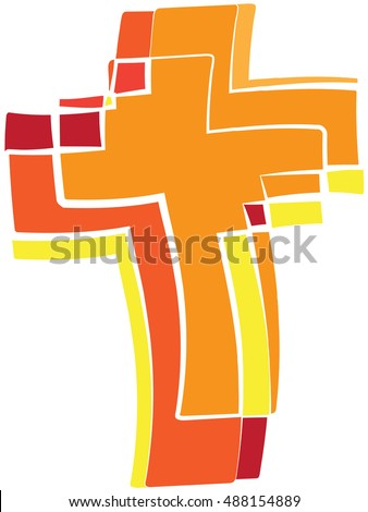 Cross Symbol Holy Spirit Fire Warm Stock Vector Royalty Free