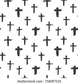 Cross symbols seamless pattern grunge hand drawn Christian crosses, religious signs icons, crucifix symbol vector illustration .